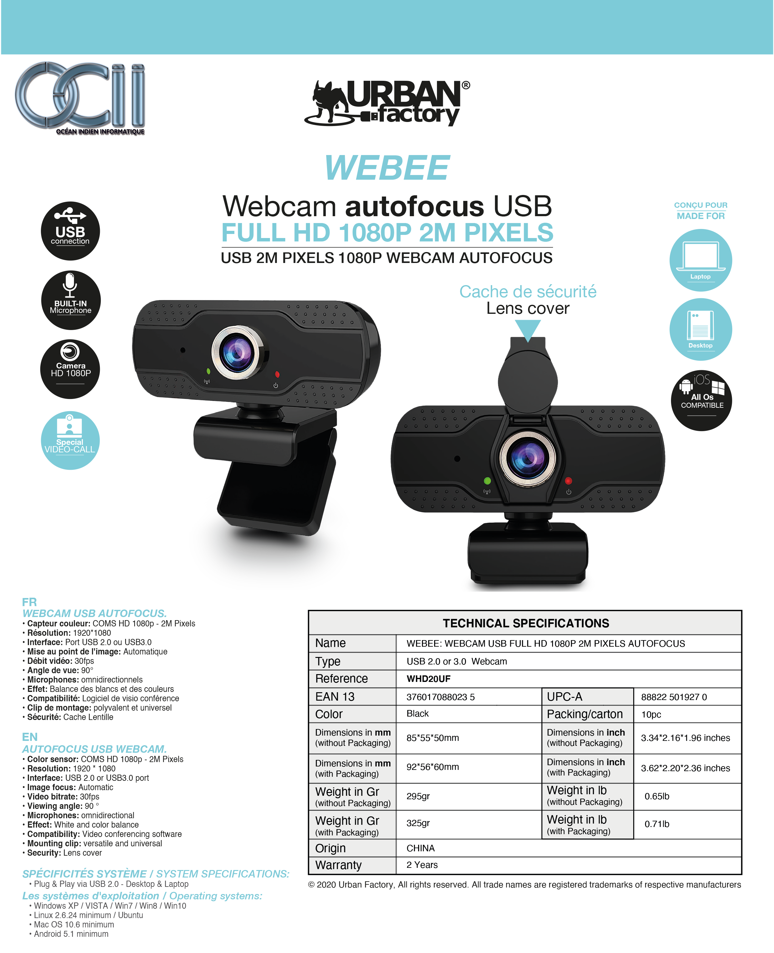 Fiche technique webcam Webee
